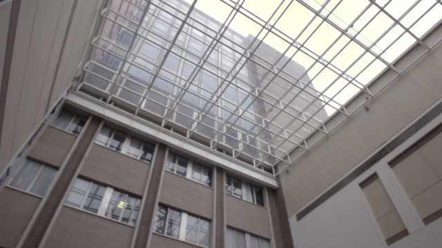 UP ANGLE OF GLASS HIGH RISE OFFICE BUILDING ATRIUM. COULD BE HOSPITAL ATRIUM. CAMERA PANS FROM LEFT TO RIGHT AND RIGHT TO LEFT. LOBBIES.