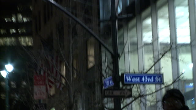 """pan down on high rise office building to """"fifth avenue"""" and """"west 43rd st"""" street signs, one way sign. - one way stock videos and b-roll footage"""