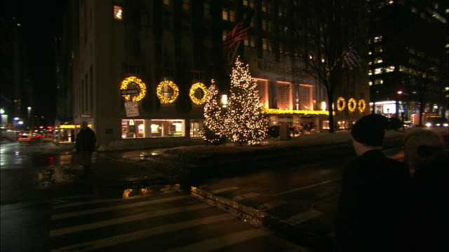 medium angle moving pov across crosswalk on city street, park avenue outside of the waldorf astoria hotel. upper class. people or pedestrians. snow. christmas lights and decorations. midtown manhattan. - ウォルドルフ・アストリア点の映像素材/bロール