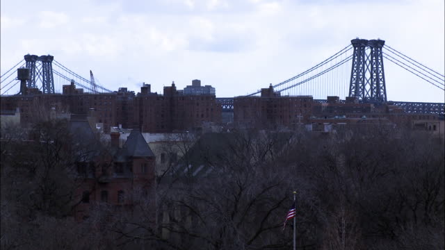 stockvideo's en b-roll-footage met wide angle of williamsburg bridge. bare tree branches in fg near american flag. could be park. urban area. water towers on roofs in bg. - bare tree