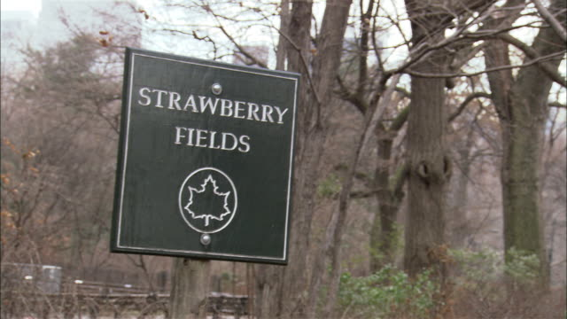 """hand held of the upper west side of manhattan, central park west, including the dakota building, a multi-story upper class apartment building on 72nd street. pan to """"strawberry fields"""" sign, central park. - central park manhattan stock videos & royalty-free footage"""