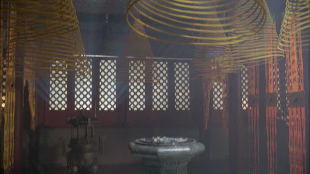 medium angle of asian temple with reflection bowl in center. incense lantern in bg. decorative banners hang from doorway. - entertainment center stock videos and b-roll footage