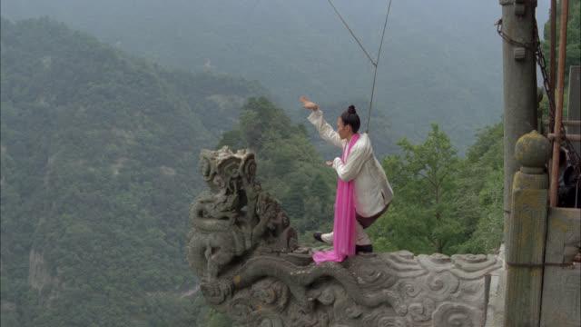 vídeos de stock e filmes b-roll de medium angle of woman standing on ledge practicing martial arts. mountains in bg. trees of forest below. stunt. - peitoril de janela