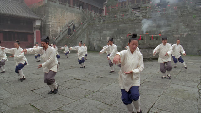 vídeos de stock e filmes b-roll de pan up of men and women, people practicing martial arts, could be tai chi, in courtyard. could be in temple or monastery with chinese pagoda roofs. trees of forest in bg. - artes marciais
