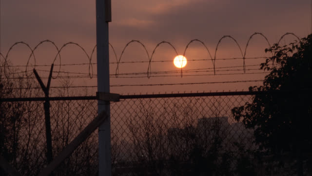 medium angle of a barbed wire fence at sunrise. trees and shrubs visible as well as buildings in far bg. - barbed wire stock videos & royalty-free footage