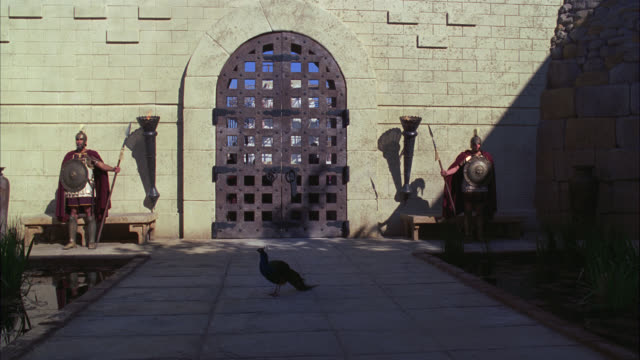 vidéos et rushes de wide angle of iron castle gate with peacock bird standing on pathway. two ancient roman guards or soldiers. - portail