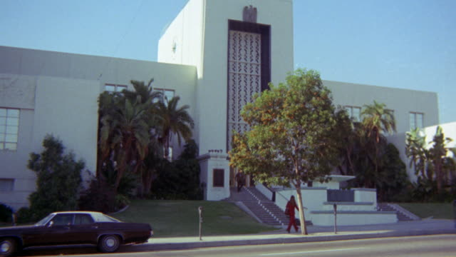wide angle of burbank city hall. could be courthouse or government building. los angeles area. - 1976 stock videos and b-roll footage