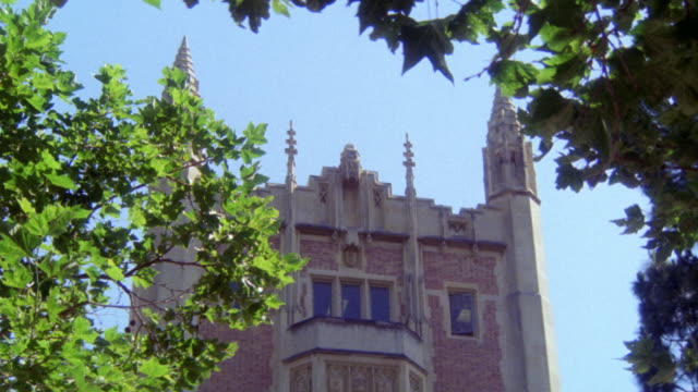 UP ANGLE OF KERKHOFF HALL ON UCLA CAMPUS. COULD BE CHURCH, CATHEDRAL, MUSEUM, COLLEGE, UNIVERSITY.