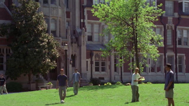 medium angle of college aged men playing frisbee on green lawn. sunny day. see green leafy trees. men dressed in short-sleeved shirts. see gothic style limestone masonry multi-story building in bg.  see green leaves of tree. could be used for college camp - short sleeved stock videos & royalty-free footage