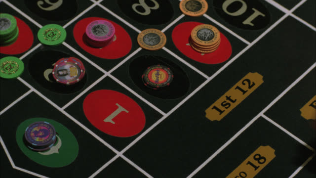 pan left to right of roulette wheel spinning, hand releases the ball, player's hand seen placing chips on betting board. casinos. gambling. hard rock casino.preview file has been trimmed from master clip 2045-018. for additional footage, see clips 2045-90 - roulette stock videos & royalty-free footage