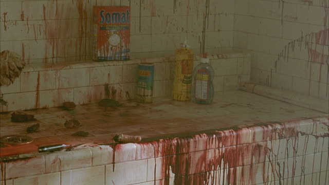 pan right to left panning around kitchen counter covered in blood and gore. body bits on counter around blood. zooms in on severed thumb lying on edge of counter. pans right to vase of white flowers sitting on cabinet. pans left to counter again. - bloody gore stock videos & royalty-free footage
