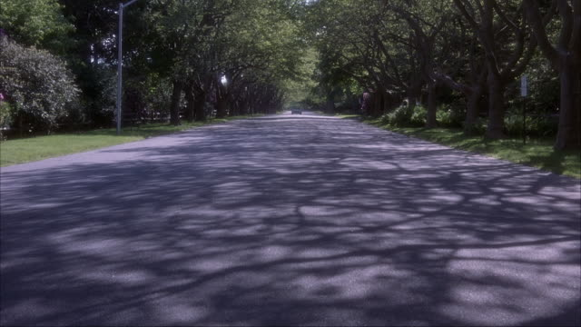 est wide angle. country road with trees aligned along road. a silver mercedes sl convertible drives from bg to fg down country road. the hamptons, long island. - convertible stock videos & royalty-free footage