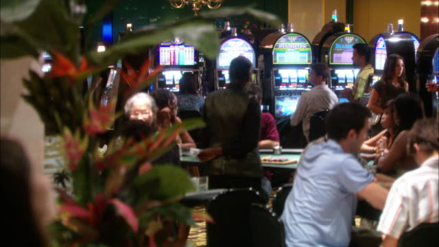 medium angle of men and women gambling at tables. casino dealers deal cards. pans slightly right, could be pov of person watching action. - casino interior stock videos & royalty-free footage