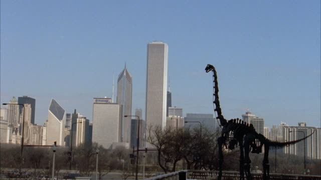 wide angle of high rise and skyscraper office buildings, apartment buildings and condominiums of chicago skyline. metal dinosaur skelton sculpture in fg. smurfit-stone building, aon center, two prudential plaza. landmarks. cities. - two prudential plaza stock videos & royalty-free footage