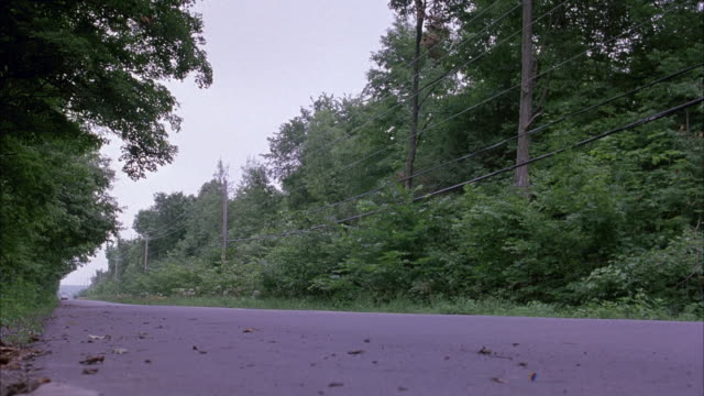 wide angle shot of open road with trees and forest surrounding. gray jeep cherokee drives from background to foreground and out of shot at right. - ジープ点の映像素材/bロール