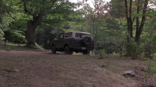 WIDE SHOT OF DARK GREEN FORD BRONCO PARKED ON DIRT ROAD IN MIDDLE OF FOREST.  SURROUNDED BY TREES AND BUSHES. CAMERA MOVES CLOSER UP HILL TO CAR. SEE FIGURE IN DRIVER'S SEAT.