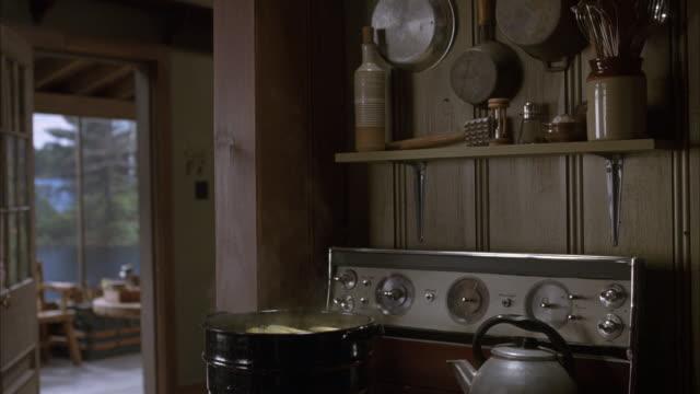 vídeos de stock e filmes b-roll de medium angle. inside cabin in kitchen. stove in bg with steaming pot on burner. front door in left bg. tea kettle also on stove. could be corn in pot. - panela utensílio