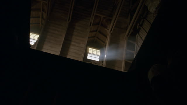 zoom in. opens with shot looking up through doorway into attic. two windows at top of shot with light shining through. camera zooms into windows. - 屋根裏部屋点の映像素材/bロール