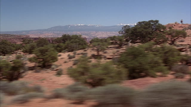 wide angle  driving pov 3/4 right forward through desert area. see low desert shrubs, juniper trees and chaparral to side of road. snow-capped la sal mountains in background. could be used for arizona, high desert areas. - moab utah stock-videos und b-roll-filmmaterial