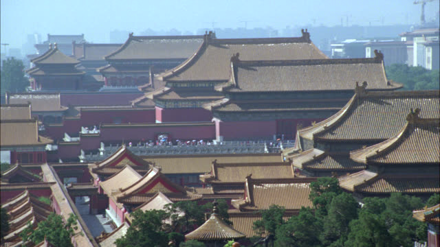 pan left to right across pagoda rooftops in forbidden city. asia. chinese architecture. landmarks. series. - forbidden city stock videos & royalty-free footage
