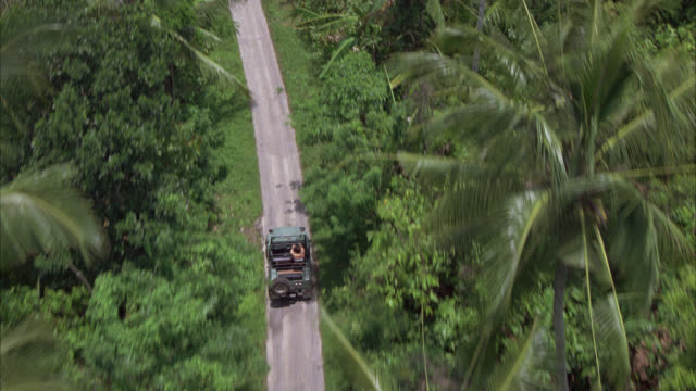 aerial of man driving jeep on country road through countryside or rural area. palm trees and tropical plants. rice paddies, farmland. - ジープ点の映像素材/bロール