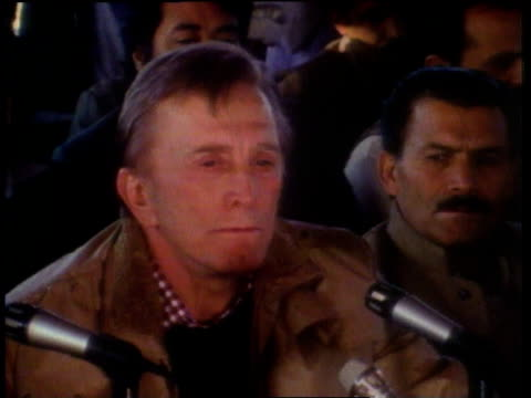 kirk douglas addressing a crowd / peshawar, pakistan - narrating stock videos & royalty-free footage