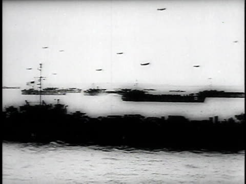 june 6, 1944 montage d day planes and ships in ocean, nuns walking on beach present day / normandy, france - d day stock videos & royalty-free footage
