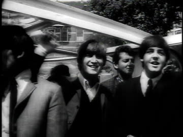 june 11, 1964 montage beatles riding on boat in canal waving to screaming teenage fans, some trying to swim to them, police pulling them out of the... - 1964 stock videos & royalty-free footage