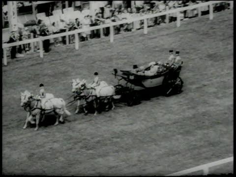 june 16 1966 montage prince philip queen elizabeth in carriage with prince princess of monaco before ascot opening day / ascot berkshire united... - fürst rainier iii. von monaco stock-videos und b-roll-filmmaterial