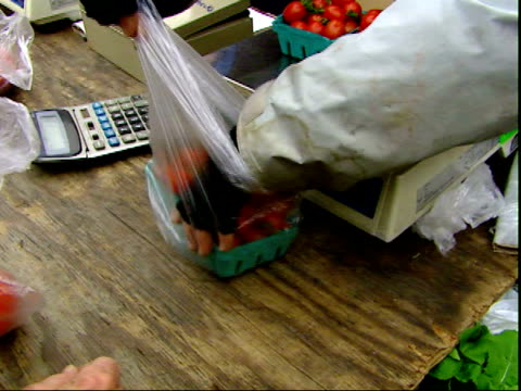 november 20, 2007 man selling and bagging up produce at a farmer's market / mt. vernon, virginia, united states - バージニア州マウントヴァーノン点の映像素材/bロール
