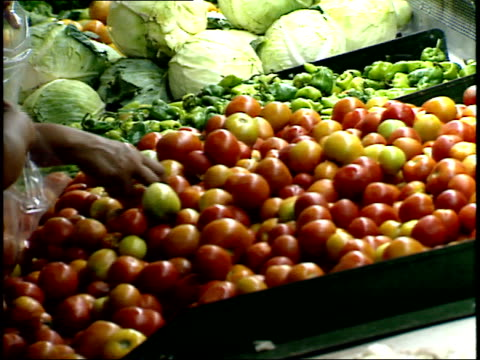 april 25, 1987 shoppers picking over produce in supermarket / managua, nicaragua - managua stock videos & royalty-free footage