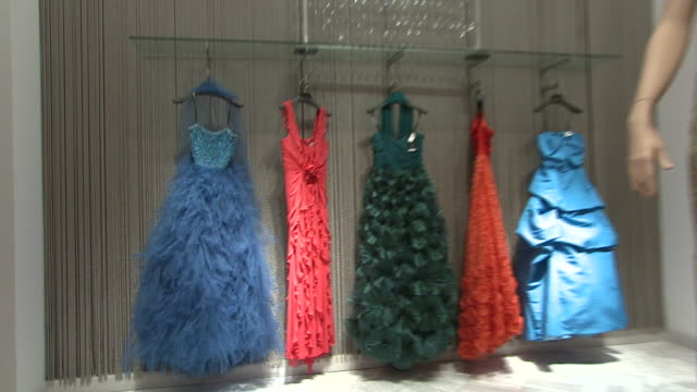 november 27 2009 zo evening gowns on display in neiman marcus / united states - rack stock videos & royalty-free footage