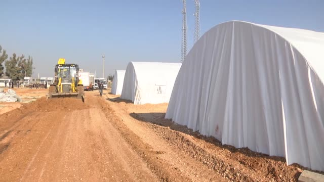 a 1000capacity refugee camp is set up by the directorate general of migration management under the turkish ministry of interior for disadvantageous... - hatay stock videos & royalty-free footage
