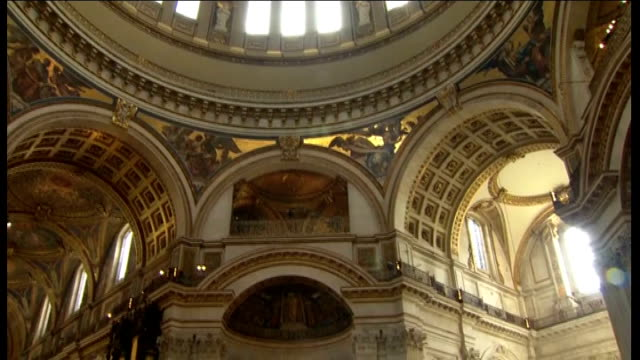100th anniversary of captain scott expedition to south pole: st paul's memorial service; england: london: st paul's cathedral: int congregation and... - choir stock videos & royalty-free footage