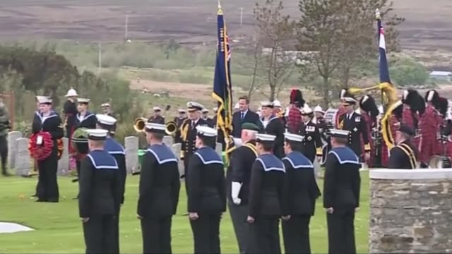 100th anniversary of the battle of jutland marked by services on orkney and at battle site; scotland: orkney: hoy: lyness naval cemetary ext prime... - hoy stock videos & royalty-free footage