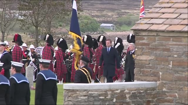 100th anniversary of the battle of jutland: memorial ceremony; bbc pool scotland: hoy: lyness naval cemetary ext gv's of ceremomy to mark 100th... - hoy stock videos & royalty-free footage