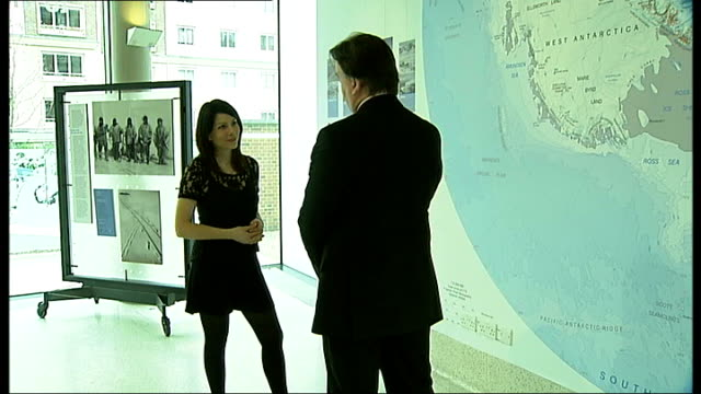 100th anniversary of the death of south pole explorer lawrence oates alasdair macleod interview sot reporter and macleod looking at exhibition display - 100th anniversary stock videos & royalty-free footage