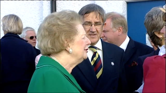 100th annivesary of powered flight/ lady thatcher attends ceremony england hampshire farnborough ext former prime minister lady thatcher greeting... - hampshire england stock videos and b-roll footage