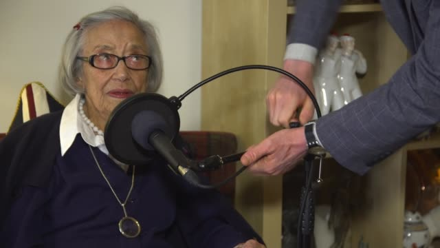 101yearold ida schuster becomes world's oldest podcaster scotland int various shots ida schuster recording podcast ida schuster interview sot cutaway... - news not politics stock videos & royalty-free footage