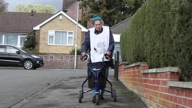 """a 104yearold woman who is looking to give veteran fundraiser captain sir tom moore a run for his money by walking a marathon for charity is """"very... - newbury west berkshire stock-videos und b-roll-filmmaterial"""