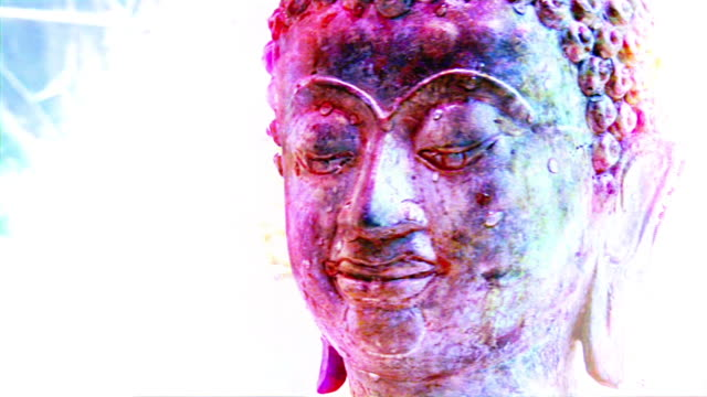 hd 1080i rotating buddha head with fx - male likeness stock videos & royalty-free footage