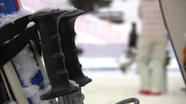 hd 1080i shallow focus ski poles - ski pole stock videos & royalty-free footage
