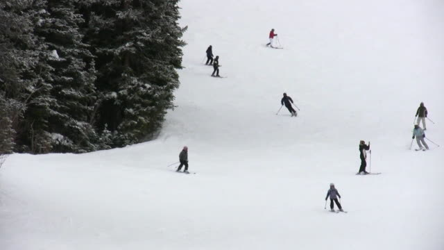 hd 1080i skiers on colorado ski resort mountain 4 - evergreen stock videos & royalty-free footage