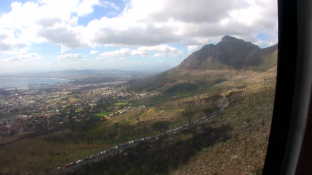 hd 1080i south africa table mountain rotating cable car 6 - overhead cable car stock videos & royalty-free footage