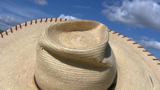 hd 1080i straw sombrero hat in wind - sombrero stock videos & royalty-free footage