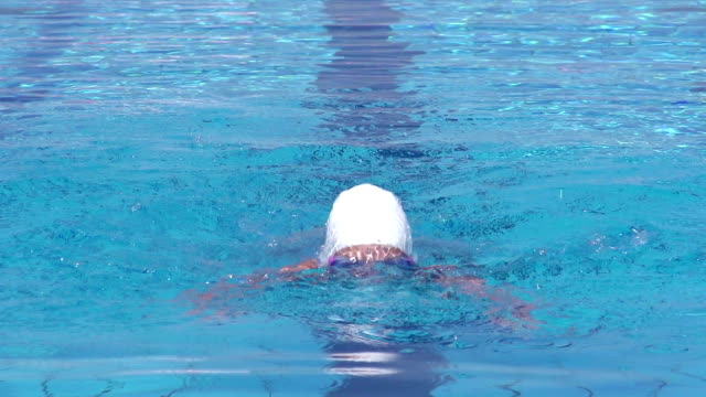 HD 1080p: Shot of 13 Years Old Teenager Swimming Butterfly Stroke Outdoors