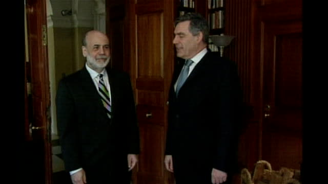stockvideo's en b-roll-footage met washington int gordon brown mp shakes hands with us federal reserve chariman ben bernanke at photocall - 2008