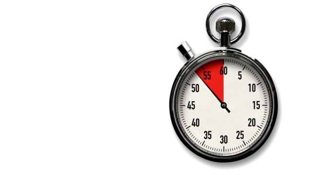 10-second stopwatch countdown on white with room for copy - second hand stock videos & royalty-free footage