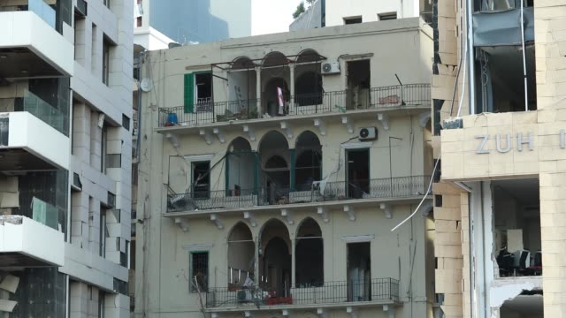 10th 2020: buildings in gemayze damaged in explosion that took place on august 4th 2020. the explosion at beirut's port last week killed over 200... - last stock videos & royalty-free footage