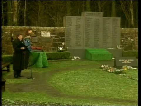 sarah scotland lockerbie memorial garden father pat keegans address sot turn back the clock let it be 7pm in the evening of december 21st 1988 ls... - memorial event stock videos and b-roll footage
